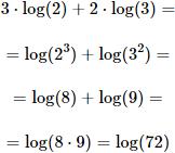 calculamos 3 por logaritmo de 2 más 2 por logaritmo de 3