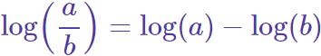 logaritmo de una fracción