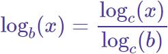 fórmula para cambiar la base del logaritmo